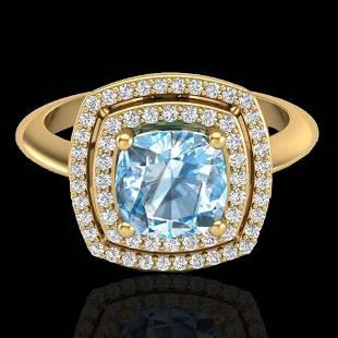 2.02 ctw Sky Blue Topaz & Micro VS/SI Diamond Ring 18K