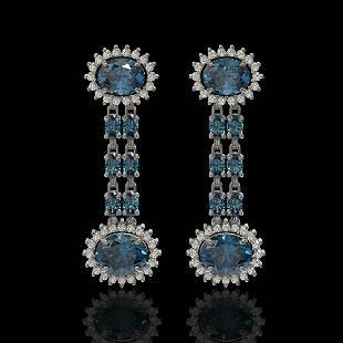 9.85 ctw London Topaz & Diamond Earrings 14K White Gold