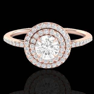 1 ctw Micro Pave VS/SI Diamond Solitaire Ring Halo 14k