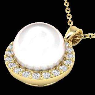 .25 ctw Micro VS/SI Diamond & White Pearl Necklace 18K