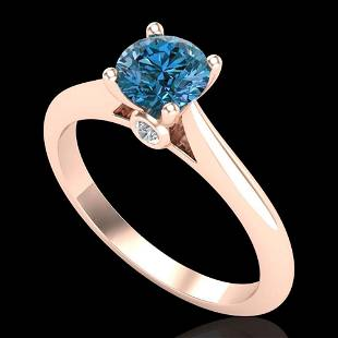 0.83 ctw Fancy Intense Blue Diamond Art Deco Ring 18k