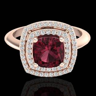 2.27 ctw Garnet & Micro VS/SI Diamond Pave Ring 14K