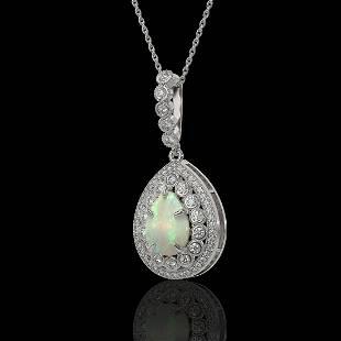 4.14 ctw Certified Opal & Diamond Victorian Necklace