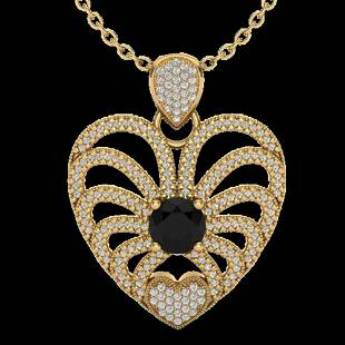 3.50 ctw Black & White Micro Diamond Heart Necklace 14k