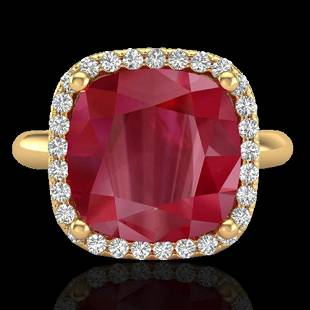 6 ctw Ruby & Micro Pave VS/SI Diamond Certified Ring