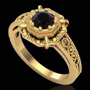 0.53 ctw Fancy Black Diamond Engagement Art Deco Ring