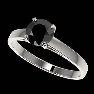 1.08 ctw Fancy Black Diamond Solitaire Engagement Ring