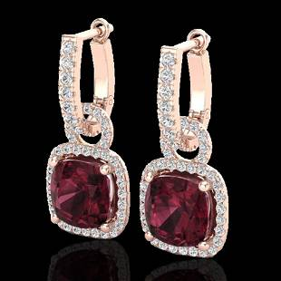 7 ctw Garnet & Micro Pave VS/SI Diamond Earrings 14k