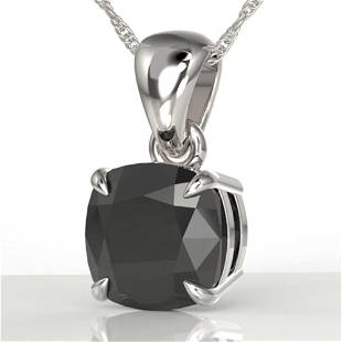 3 ctw Cushion Cut Black Diamond Designer Necklace 18k