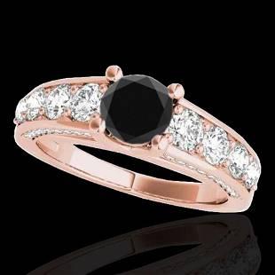 2.55 ctw Certified Black Diamond Solitaire Ring 10k