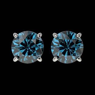 1.57 ctw Certified Intense Blue Diamond Stud Earrings