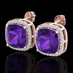 12 ctw Amethyst & Micro Pave VS/SI Diamond Earrings 14k