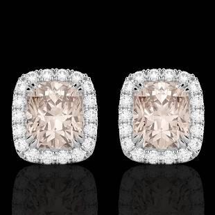 2.50 ctw Morganite & Micro Pave VS/SI Diamond Earrings