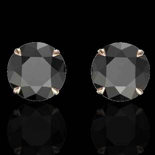 4 ctw Black Diamond Designer Earrings 14k Rose Gold -