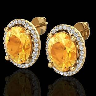5 ctw Citrine & Micro Pave VS/SI Diamond Earrings 18K