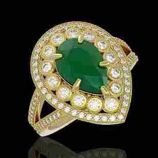 5.12 ctw Certified Emerald & Diamond Victorian Ring 14K