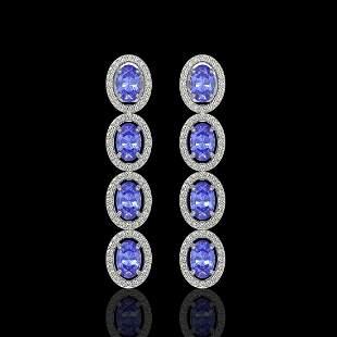 6.09 ctw Tanzanite & Diamond Micro Pave Halo Earrings