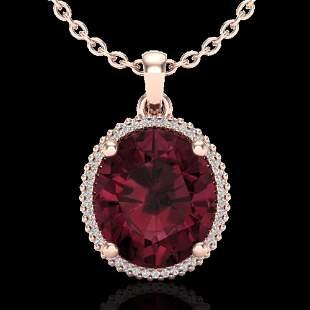 11 ctw Garnet & Micro Pave VS/SI Diamond Necklace 14K