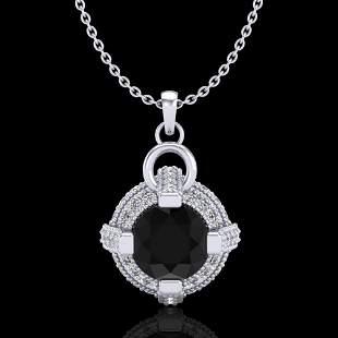 1.57 ctw Fancy Black Diamond Micro Pave Stud Necklace