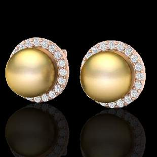 .50 ctw Micro Pave Diamond And Golden Pearl Earrings