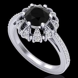 1.65 ctw Fancy Black Diamond Art Deco Micro Pave Ring
