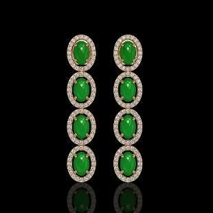 6.44 ctw Jade & Diamond Micro Pave Halo Earrings 10k