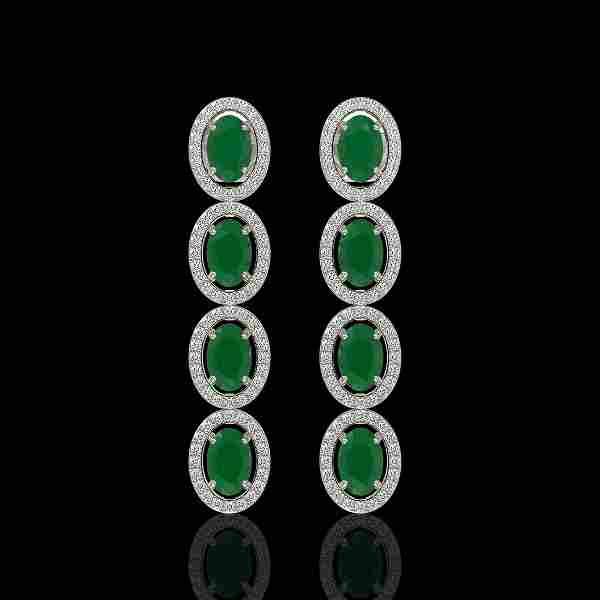 6.47 ctw Emerald & Diamond Micro Pave Halo Earrings 10k