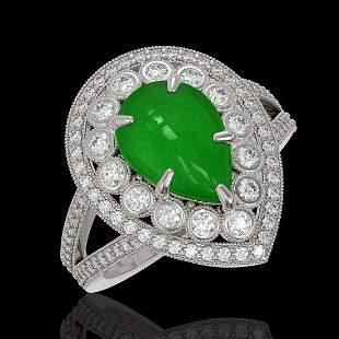 4.12 ctw Jade & Diamond Victorian Ring 14K White Gold -