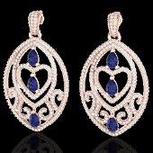 7 ctw Tanzanite & Micro Pave Diamond Heart Earrings 14k