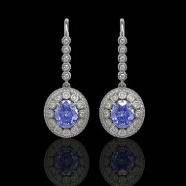 9.47 ctw Tanzanite & Diamond Victorian Earrings 14K