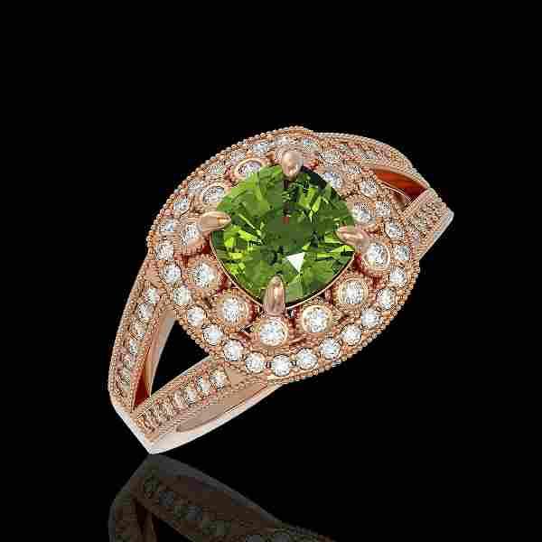 2.39 ctw Certified Tourmaline & Diamond Victorian Ring