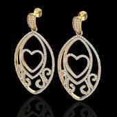 3.20 ctw Micro Pave VS/SI Diamond Heart Earrings 18k