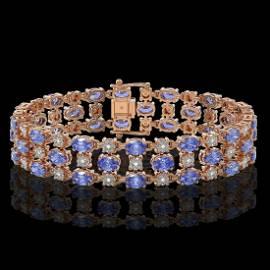 23.9 ctw Tanzanite & Diamond Bracelet 10K Rose Gold -