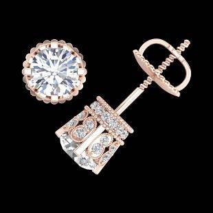 3 ctw VS/SI Diamond Art Deco Stud Earrings 18k Rose