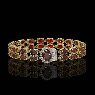 14.69 ctw Garnet & Diamond Bracelet 14K Yellow Gold -