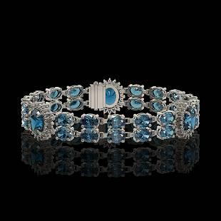 19.3 ctw London Topaz & Diamond Bracelet 14K White Gold