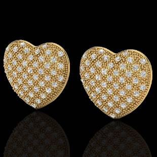 1.50 ctw Micro Pave VS/SI Diamond Heart Earrings 14k