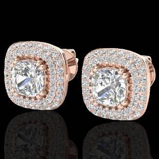 2.16 ctw Micro Pave VS/SI Diamond Earrings Halo 14k