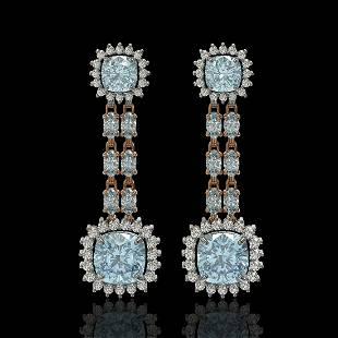 19.64 ctw Sky Topaz & Diamond Earrings 14K Rose Gold -