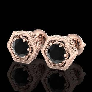 1.07 ctw Fancy Black Diamond Art Deco Stud Earrings 18k