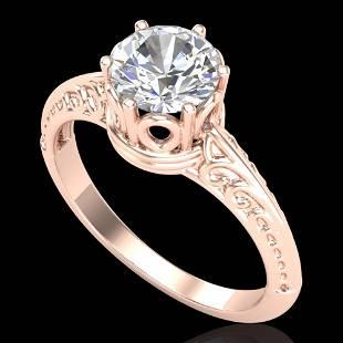 1 ctw VS/SI Diamond Art Deco Ring 18k Rose Gold -