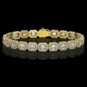 14.57 ctw Emerald Cut Diamond Micro Pave Bracelet 18K