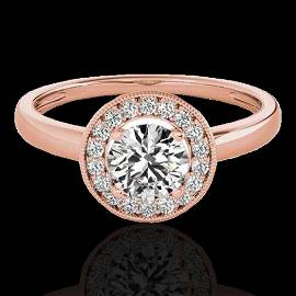 1.15 ctw Certified Diamond Solitaire Halo Ring 10k Rose