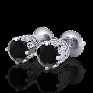 3 ctw Fancy Black Diamond Art Deco Stud Earrings 18k