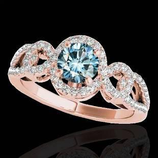 1.38 ctw SI Certified Fancy Blue Diamond Halo Ring 10k
