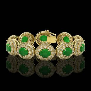 44.77 ctw Jade & Diamond Victorian Bracelet 14K Yellow