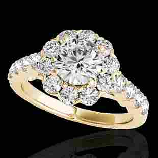 2.35 ctw Certified Diamond Solitaire Halo Ring 10k