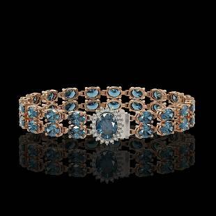 17.78 ctw London Topaz & Diamond Bracelet 14K Rose Gold