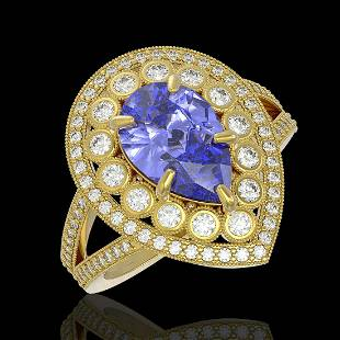 4.52 ctw Certified Tanzanite & Diamond Victorian Ring