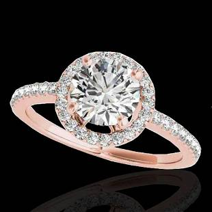 1.4 ctw Certified Diamond Solitaire Halo Ring 10k Rose